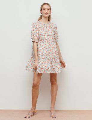 Floral Round Neck Mini Tiered Smock Dress