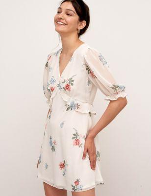 Floral Chiffon V-Neck Mini Tea Dress