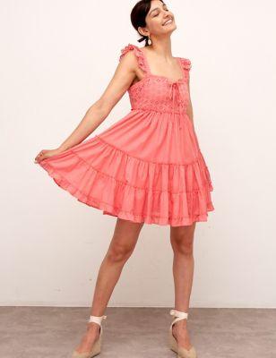 Cotton Broderie Mini Smock Dress