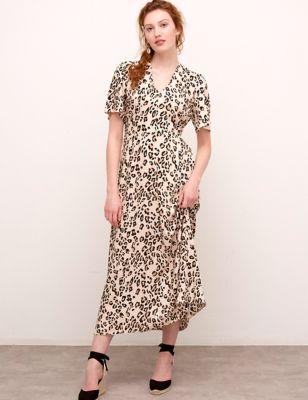 Animal Print V-Neck Midaxi Tea Dress