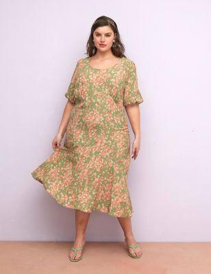 Curve Floral Round Neck Midaxi Tea Dress (18-24)
