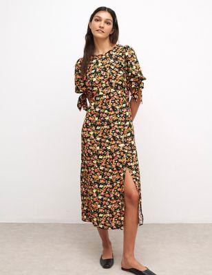 Floral Tie Sleeve Midaxi Tea Dress
