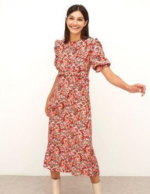 Floral Frill Detail Midaxi Tea Dress