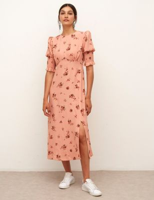 Floral Shirred Midaxi Waisted Dress