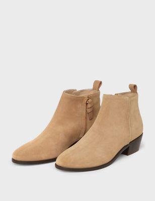 Suede Block Heel Ankle Boots