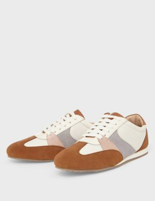 Lace Up Suede Panel Trainers