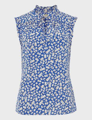 Floral Tie Neck Sleeveless Blouse