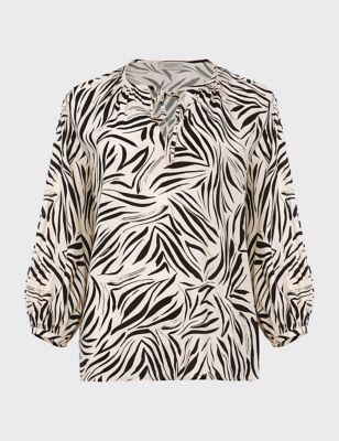 Animal Print Tie Neck 3/4 Sleeve Blouse
