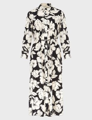 Floral Button Front Midi Shirt Dress