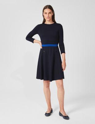 Jersey Knee Length Waisted Dress