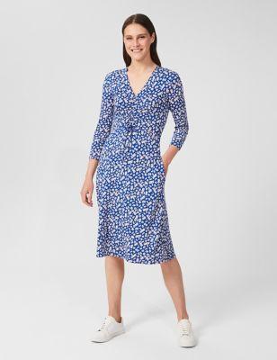 Jersey Ditsy Floral V-Neck Shift Dress