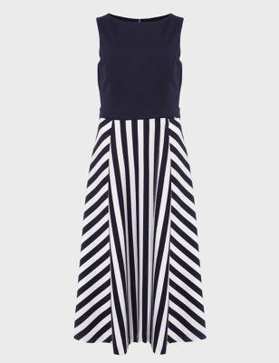 Jersey Striped Midi Waisted Dress