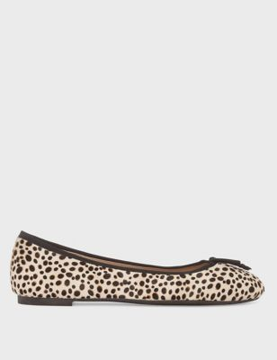 Leather Animal Print Flat Ballet Pumps