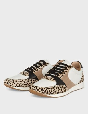 Leather Leopard Print Lace Up Trainers