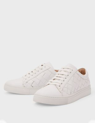 Lace Up Leather Weave Detail Trainers