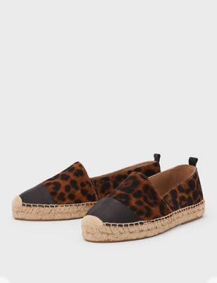 Leather Leopard Print Espadrilles