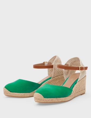 Suede Ankle Strap Wedge Espadrilles