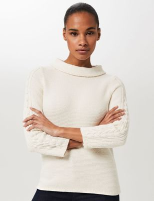 Pure Cotton Knitted High Neck Sweatshirt