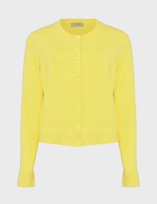 Cotton Crew Neck Button Front Cardigan