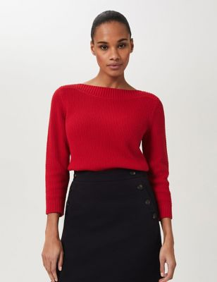Pure Cotton Knitted Slash Neck Sweatshirt