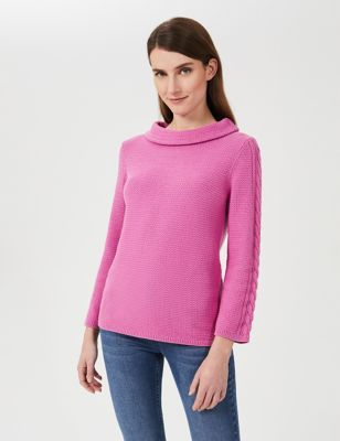 Pure Cotton Knitted High Neck Sweatshirt