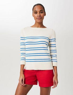 Pure Cotton Striped Slash Neck Sweatshirt