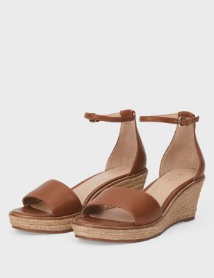 Leather Ankle Strap Wedge Espadrilles