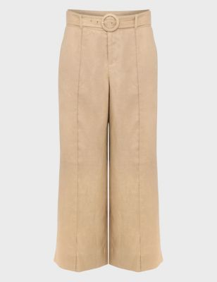 Pure Linen Leg Cropped Trousers