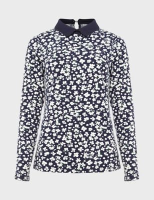 Floral Collared Regular Fit Long Sleeve Top
