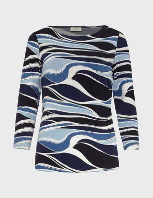 Abstract Print Slash Neck Regular Fit Top