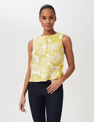 Pure Linen Floral Sleeveless Shell Top