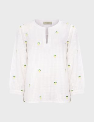 Pure Cotton Lemon Embroidery 3/4 Sleeve Top