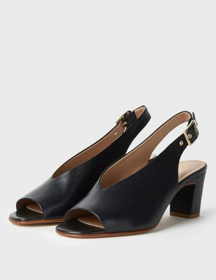 Leather Buckle Open Toe Slingback Shoes