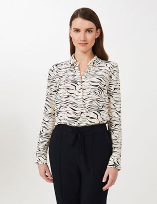 Printed Collared Long Sleeve Shirt