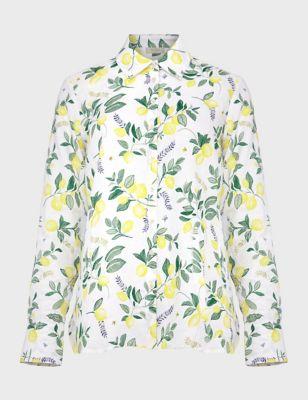 Pure Linen Lemon Print Long Sleeve Shirt