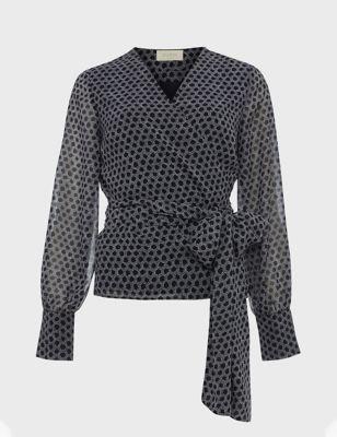 Geometric V-Neck Long Sleeve Blouse