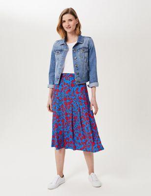 Floral A-Line Midi Skirt