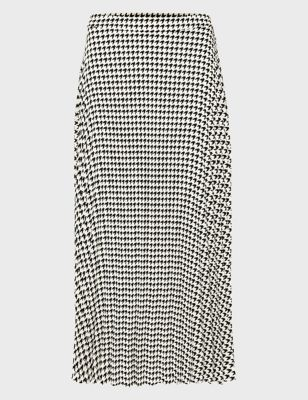 Houndstooth Midi A-Line Skirt
