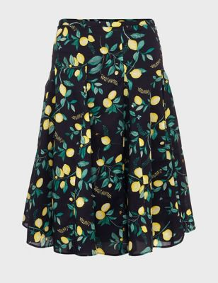 Pure Cotton Lemon Print A-Line Skirt