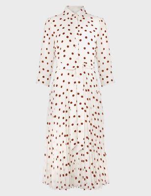 Polka Dot Tie Front Midi Shirt Dress