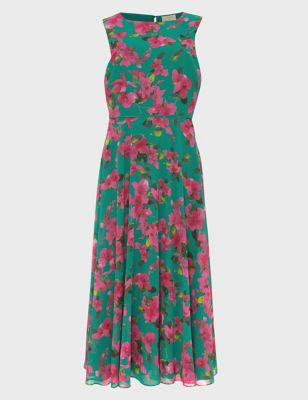 Carly Floral Waisted Midi Skater Dress