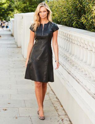 Leather Waisted Crew Neck Knee Length Dress
