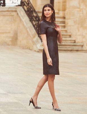Faux Leather Knee Length Shift Dress