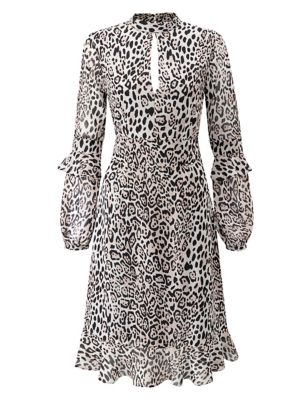 Leopard Print Round Neck Skater Dress
