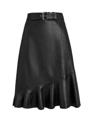 Leather Ruffle A-Line Skirt