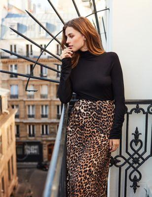 Animal Print Midi A-Line Skirt
