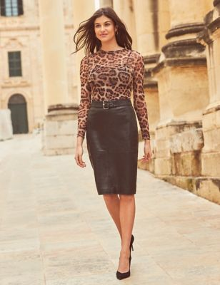 Leather Belted Knee Length Skirt