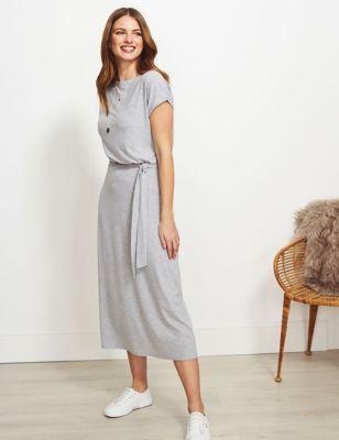 Jersey Tie Front Midi Column Dress