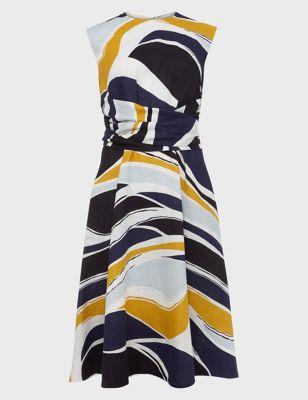 Twitchill Linen Printed Skater Dress
