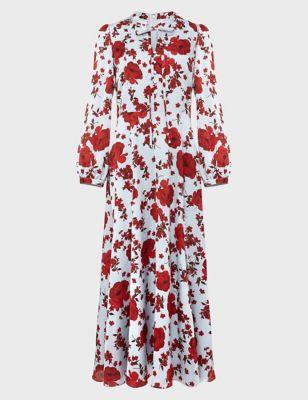 Floral Tie Neck Midi Skater Dress